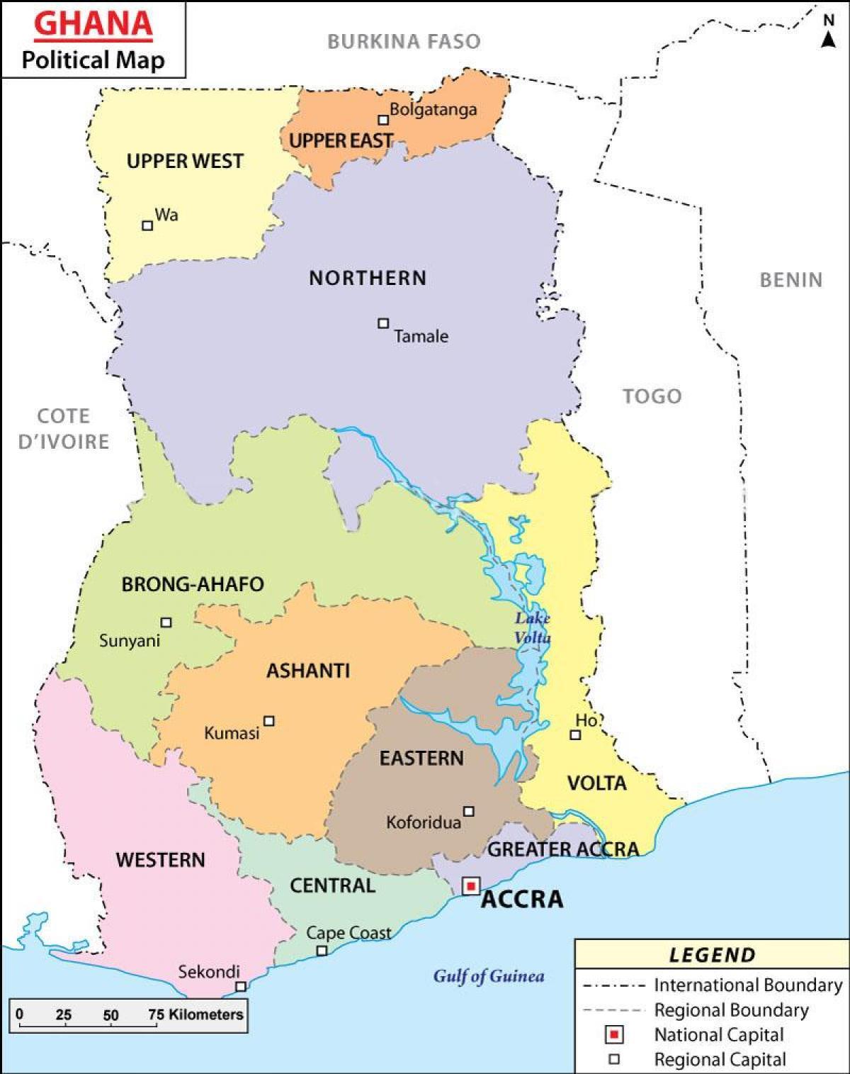 Mapa Polityczna Ghana Mapy Polityczne Ghana Afryka Zachodnia
